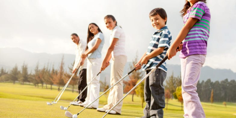 Children learning golf