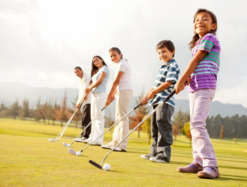 Children learning golf