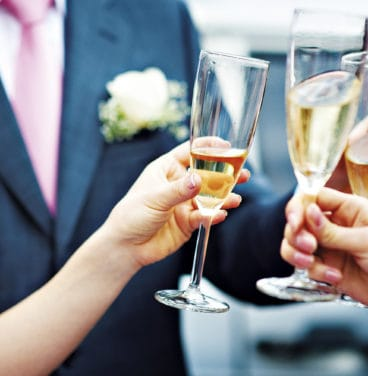 Wedding champagne celebration