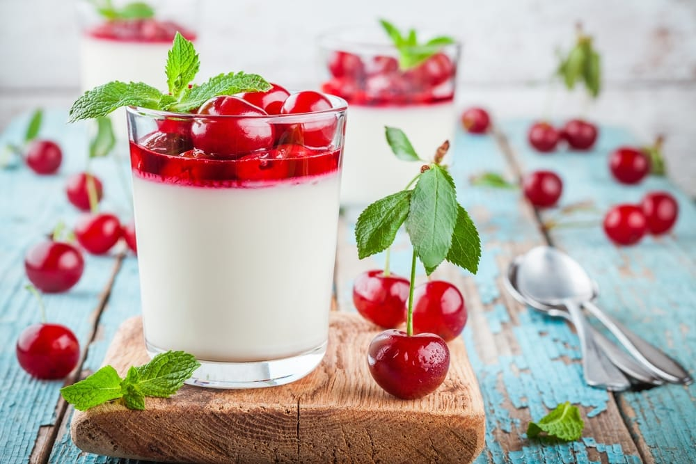cherry panna cotta