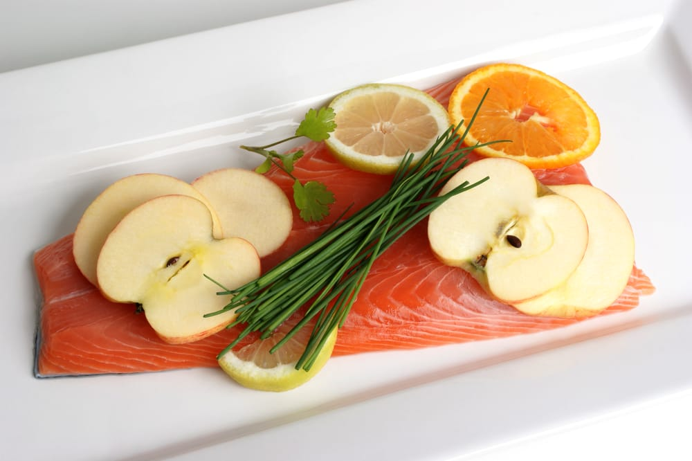 Fruit slices on salmon