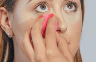 Make up being applied to face