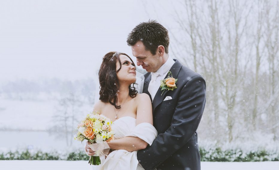A couple enjoying the magic of a winter wedding