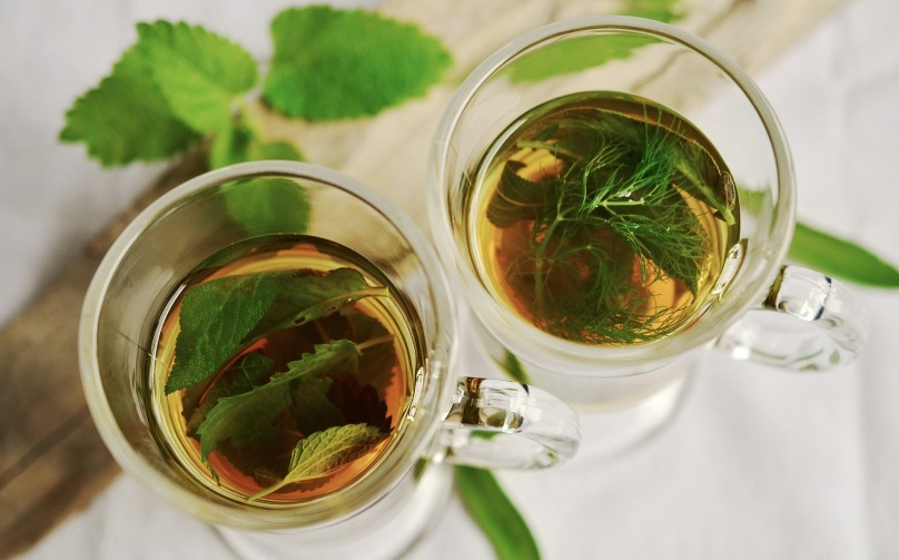 Mint tea in glass cups