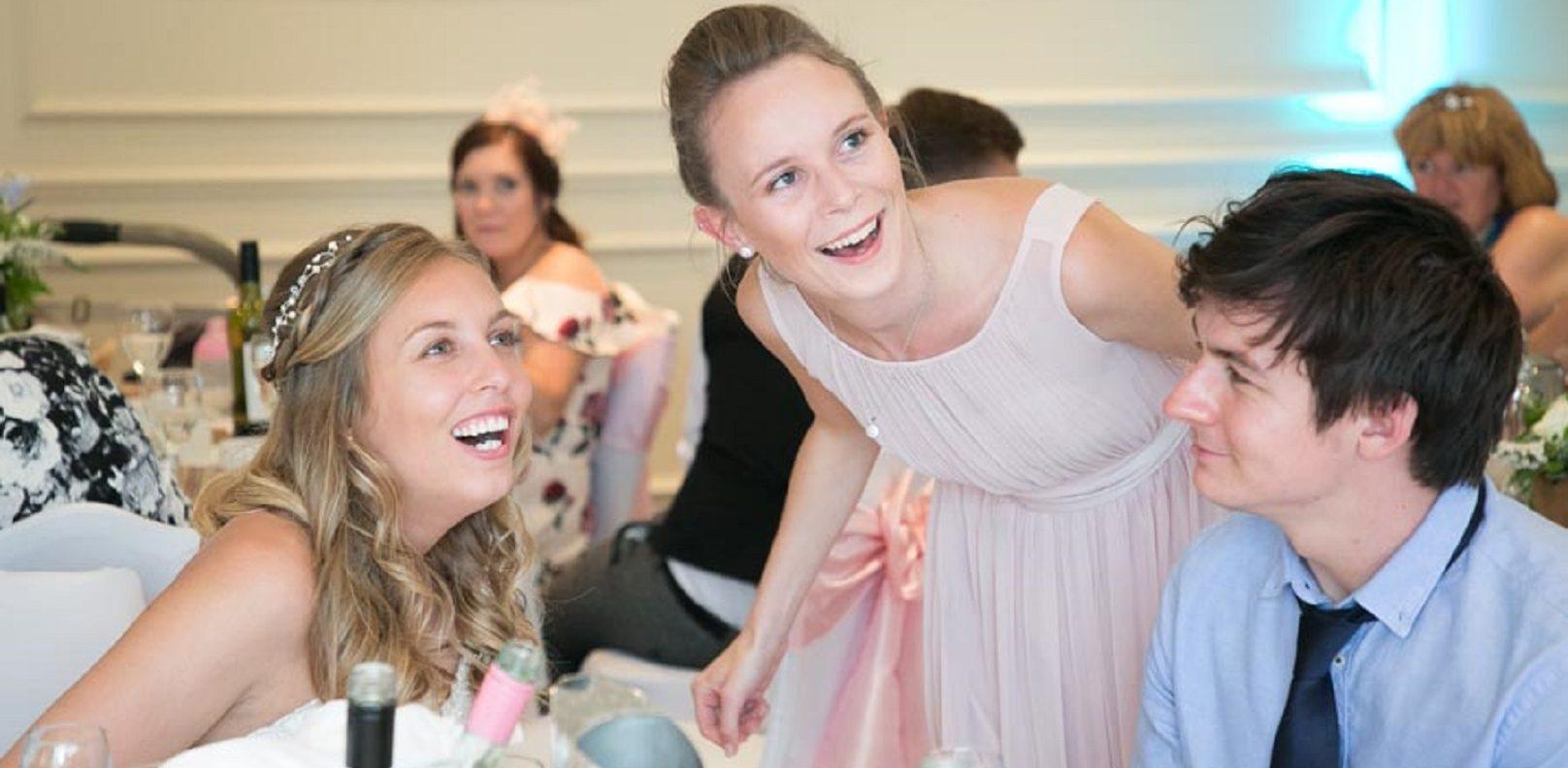Wedding guests with bride